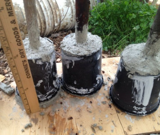 Plastic Pots Form the Mold for the Concrete Tampers